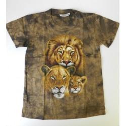 Tričko pro děti - lví rodina, hnědá batika