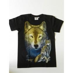 Tričko pro dospělé - vlk, černá batika