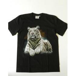 Tričko pro dospělé - tygr bílý ležící, černá batika