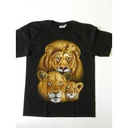 Tričko pro dospělé - lví rodina, černá batika