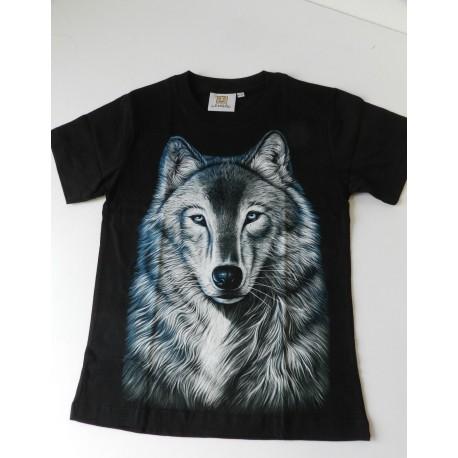 Tričko pro děti - vlk hlava, černá batika