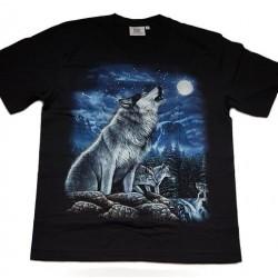 Tričko pro dospělé - vlk vyjící na měsíc, černá