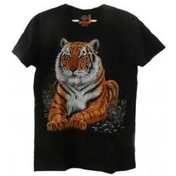 Tričko pro dospělé - tygr hnědý ležící, černá