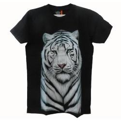 Tričko pro dospělé - bílý tygr hlava, černá
