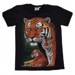 Tričko pro dospělé - tygr hnědý 3x, černá