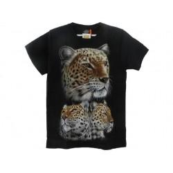 Tričko pro dospělé - levharti, černá