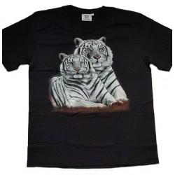 Tričko pro dospělé - bílí tygři ležící, černá