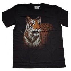 Tričko pro dospělé - tygr hnědý v trávě, černá