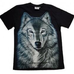 Tričko pro dospělé - vlk hlava, černá